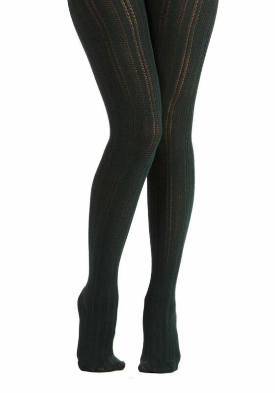 Nwt Bustling Belle Tights Dark Green Patterned Lacey Woolly Modcloth Pantyhose