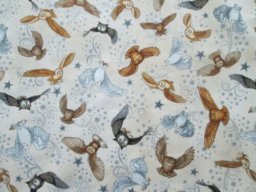 WIZARDS OWLS HP WIZARD TWILIGHT DARK BLUE COTTON FABRIC FQ OOP
