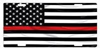 Firefighter Custom License Plate Fire Department Emblem Usa Flag Thin Red Line