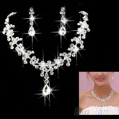 RHINESTONE CRYSTAL NECKLACE EARRING PLATED JEWELRY SET FOR WEDDING BRIDAL B89K