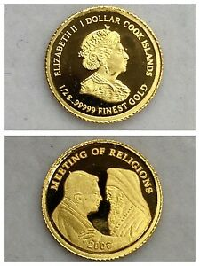 Monedas-Elisabeth-II-1-DoLAR-Cook-Islands-999er-Oro-034-Meeting-Of-Religions-034-2006
