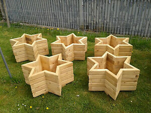 Star Shape Wooden Planter Ebay