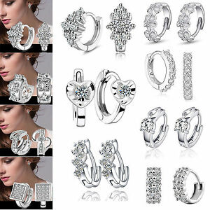 Fashion-Women-039-s-Crystal-925-Silver-Plated-Ear-Stud-Hoop-Earrings-Jewelry-Gifts