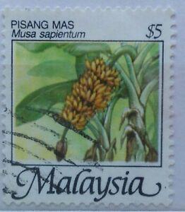 Malaysia Used Stamp - 1986 $5 Fruits Definitive Stamp - Pisang Mas / Bananas