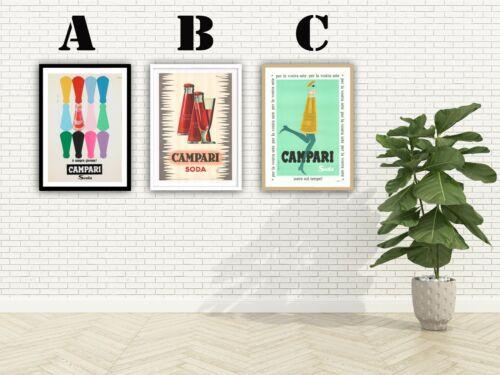 Campari Soda Vintage Advertising Art Print Poster Choice of 3 Great Prints