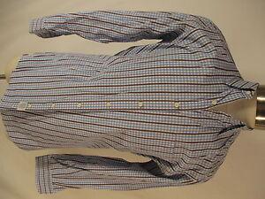 Peter Millar Mens Blue Brown Plaid Long Sleeve Cotton Shirt M