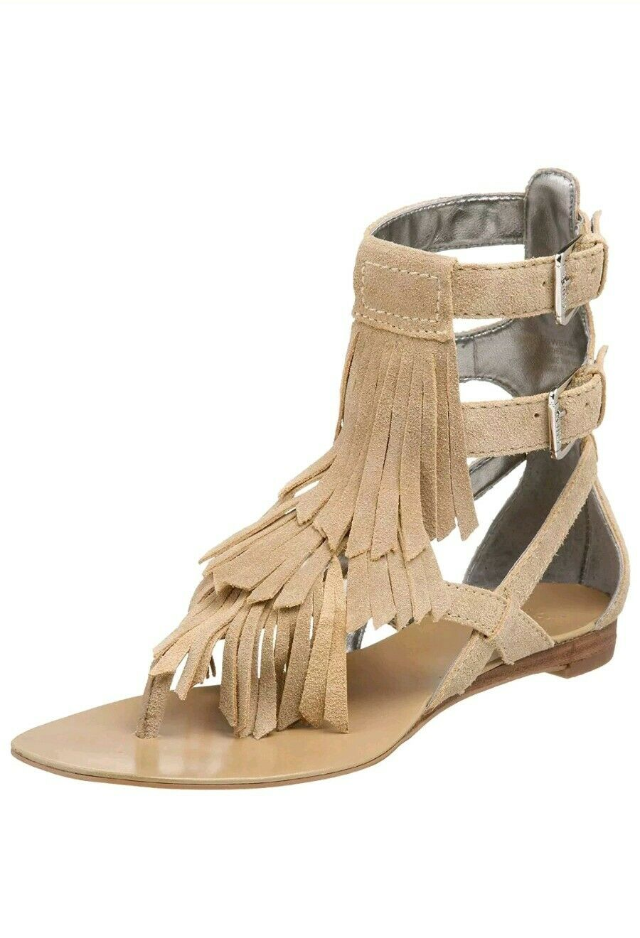 NEW Guess Women's Bari Flat Suede Sandal Fringe Gladiator 7.5 Wow