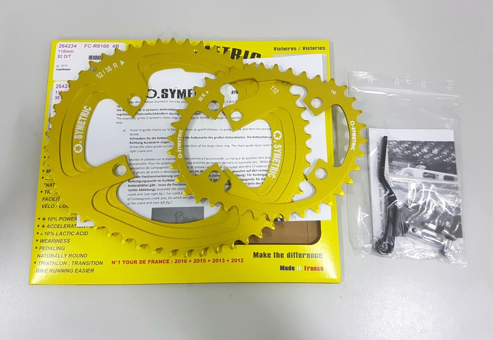 Osymetric BCD110x4 52+38T FC-R9100 9100 Edition Bicycle Chainring Set Yellow