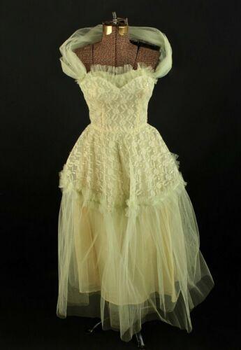 VTG Women's 50s Green Tulle Formal Gown Sz XS 1950