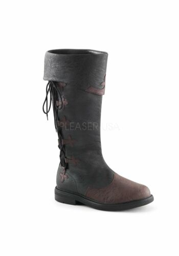 1 1//2 Inch Flat Heel Men/'s Knee High Two Tone Pull-On Boot