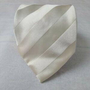 Brioni-Men-039-s-Ivory-Regimental-Repp-Stripe-Silk-Necktie-Neck-Tie-62L-3-75W