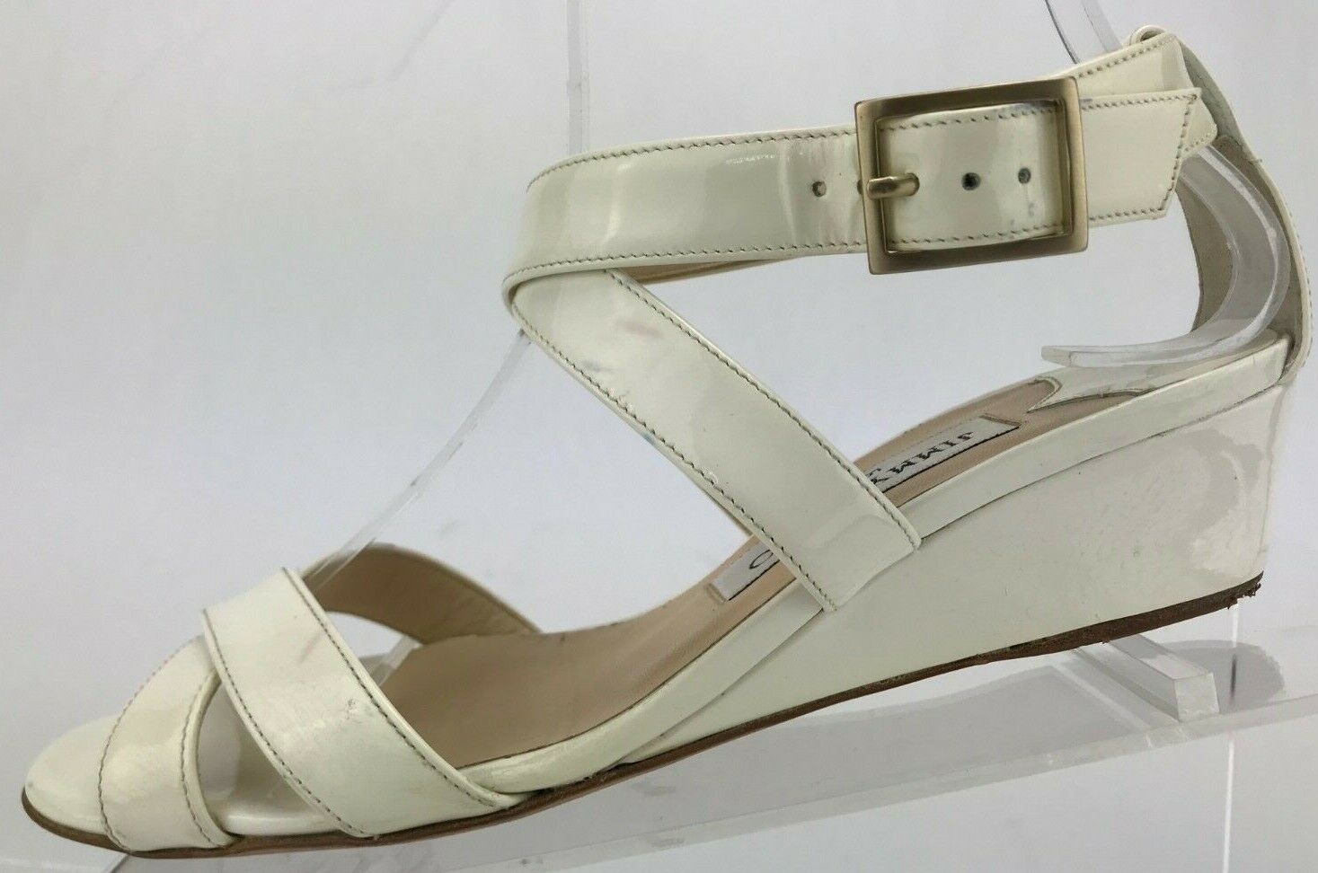 Jimmy Choo Wedge Sandals Connor White Open Toe Strappy shoes  Wmns 36.5,6.5