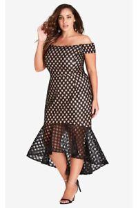 City-Chic-Size-M-Envie-Dress-Lined-w-Black-Lace-Mermaid-Silhouette-Cocktail