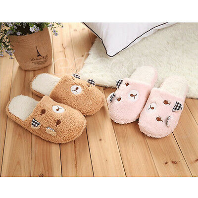 HOT Cute Women Lady Bear Velvet Anti slip Slippers Indoor House Soft Warm