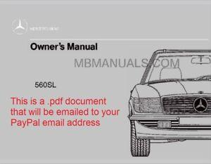 pdf mercedes benz 560sl owners operation manual 1986 1987 1988 1989 rh ebay com Mercedes-Benz 380SL 1987 mercedes benz 560sl owners manual
