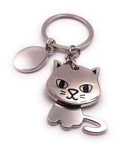 Katze Vierbeiner Haustier Gesicht Süss Silber Schlüsselanhänger Anhänger