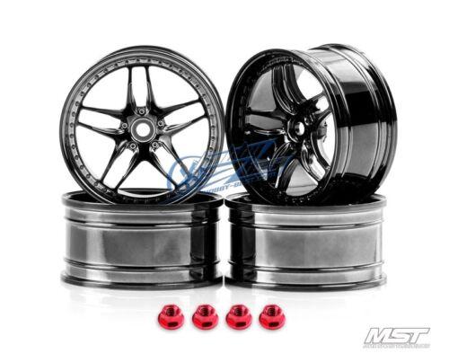 MST Silver black FB 1//10 Drift Car Wheels offset 3 102059SBK New 4 PCS