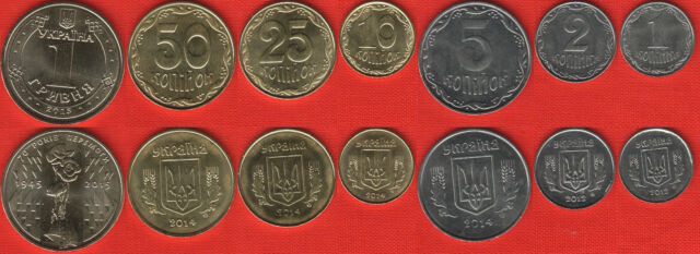 1 hryvnia 2012-2015 UNC 1 kopiyka Ukraine set of 7 coins