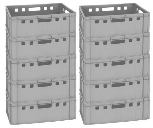 10 Fleischerkiste Lagerkiste Lagerbehälter Box E2 grau 60x40 cm neu Gastlando