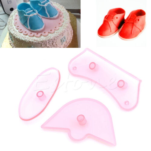 3Pcs Baby Shoes Decorating Tools Cutter Mold Sugarcraft Fondant Cake Baking Make
