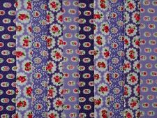JELLY ROLL STRIPS 100% COTTON PATCHWORK FABRIC PURPLE FLORAL 10 PIECES