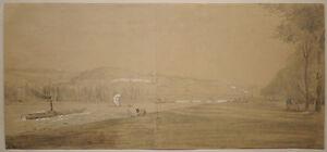 Beau-Dessin-Ancien-Paysage-SEINE-Bateau-a-Vapeur-ALFRED-ROBAUT-XIXe-c-1860