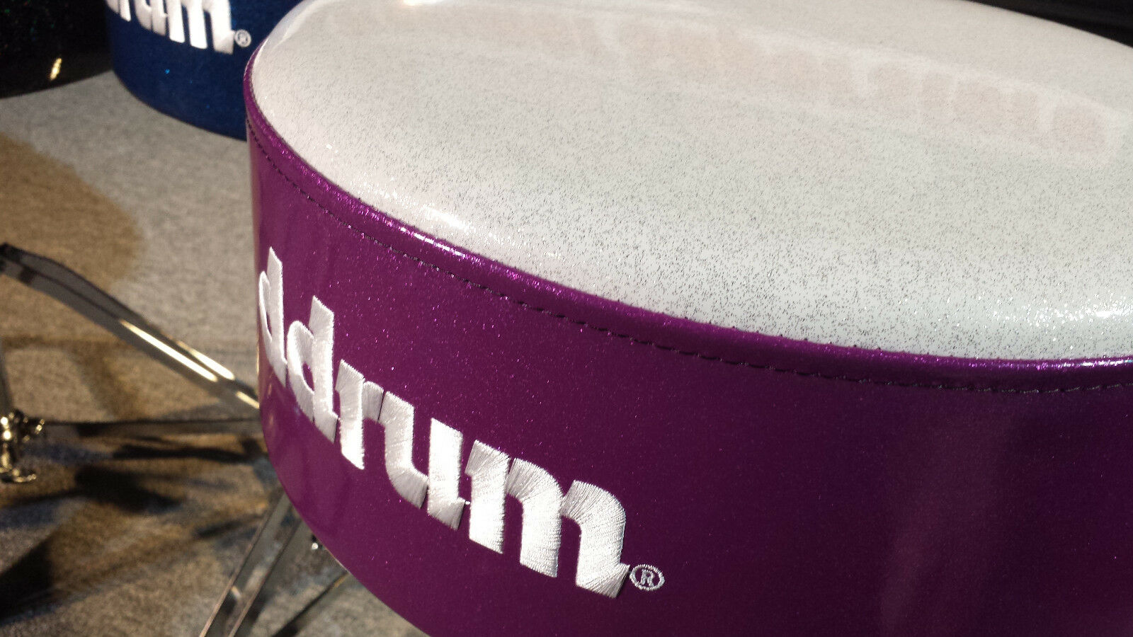 DDrum Drum Throne Mercury FAT  WhiteTop w  Purple Sparkle Sides Seat    MFAT WP