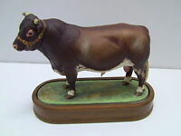 Royal Worcester Porcelain DAIRY SHORTHORN BULL Figurine by Doris Lindner 1965