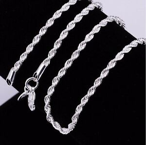 Stunning-Sterling-Silver-3-mm-Silver-Rope-Chain