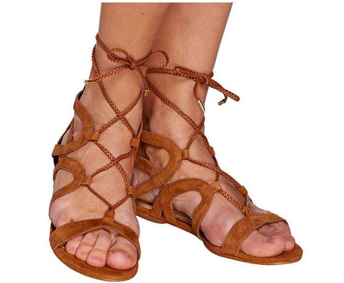 Marc Fisher Suede Lace-up Sandals - Kapre Cognac 7M