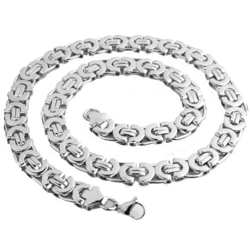 Details about  /6//8//11mm Silver//Gold Stainless Steel Flat Byzantine Mens Chain Necklace Bracelet