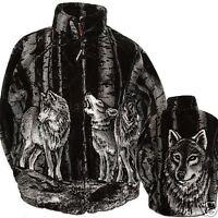 Wolf Fleece Coat Jacket Black Mountain Timber Wolf Ultra Plush S M L Xl 2xl 3xl