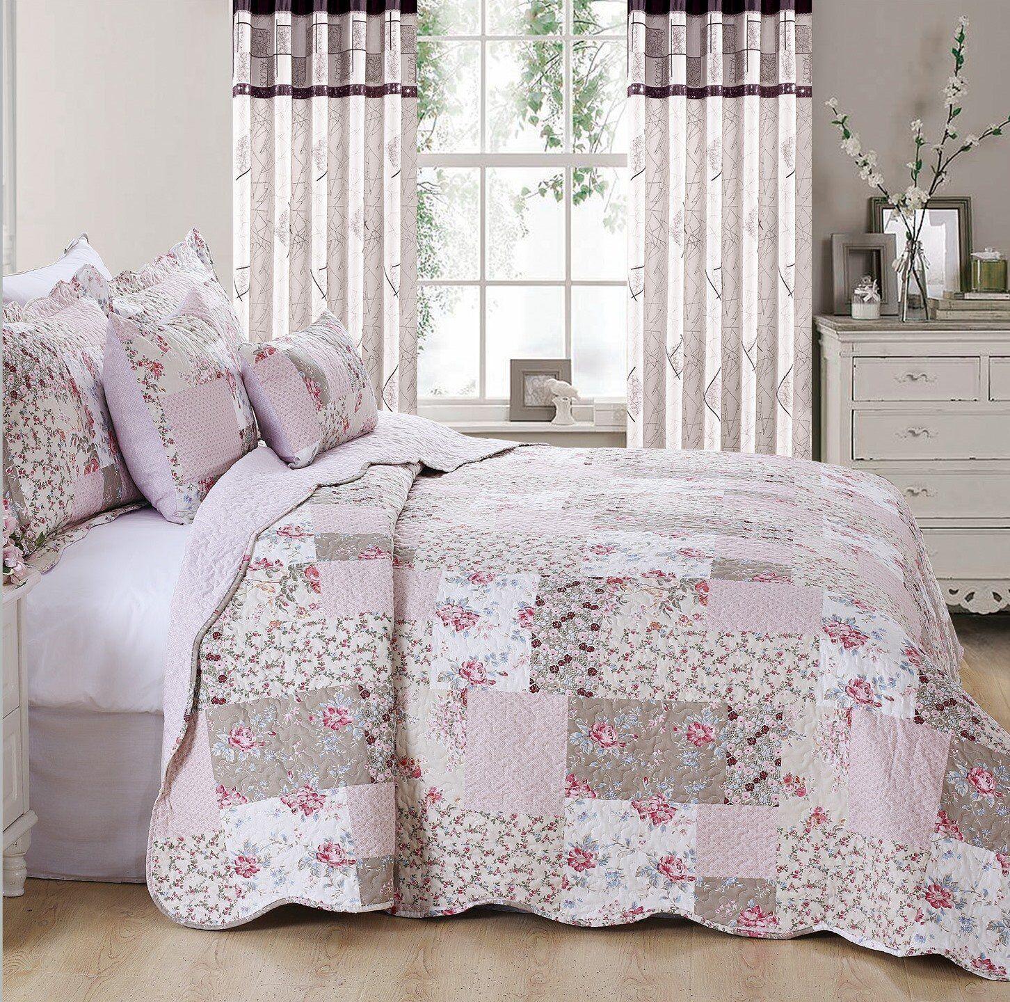 New Cotton Filled Vintage Patchwork Quilted Bedspread Throw Comforter King Größe