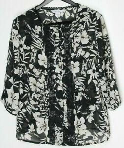 TAN-JAY-Women-039-s-3-4-Sleeve-Button-Down-Top-Black-Ivory-Floral-Sheer-Size-16