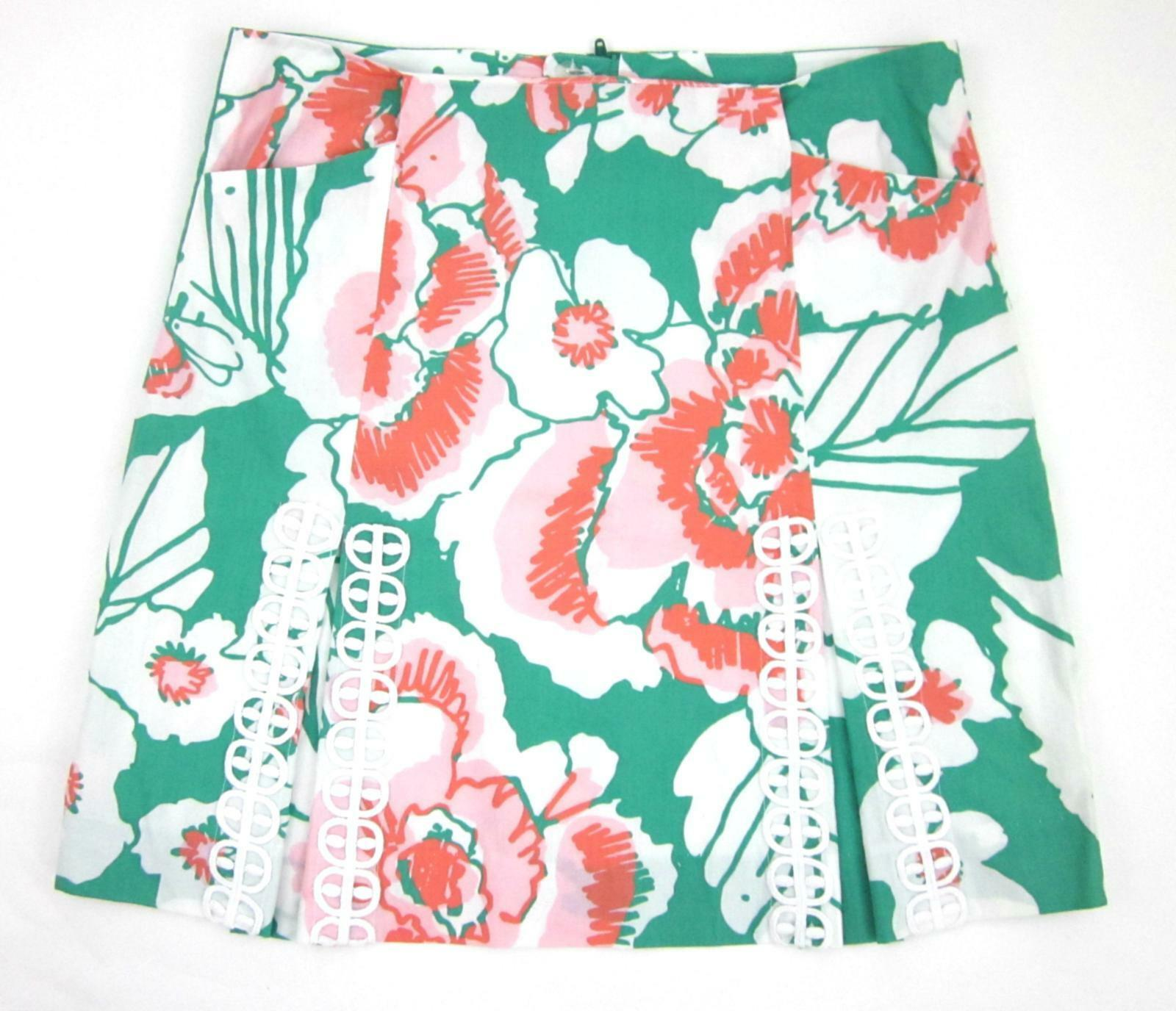Lilly Pulitzer Jade Green Roslyn Take It Even Higher Floral W  Lace Skirt Size 4