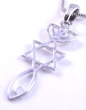 Mesiánico Sello Collar Hebreos raíces Plata injertado Estrella De David MENORÁ Peces