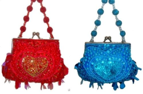 Beaded Sequin Hand Bag Clutch Purse Party Wedding Prom 2 Colours Red /& Turquiose