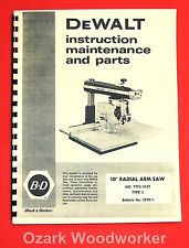 Dewalt 7770 10 Inch Radial Arm Saw Owners Instructions And Parts Manuall 1026