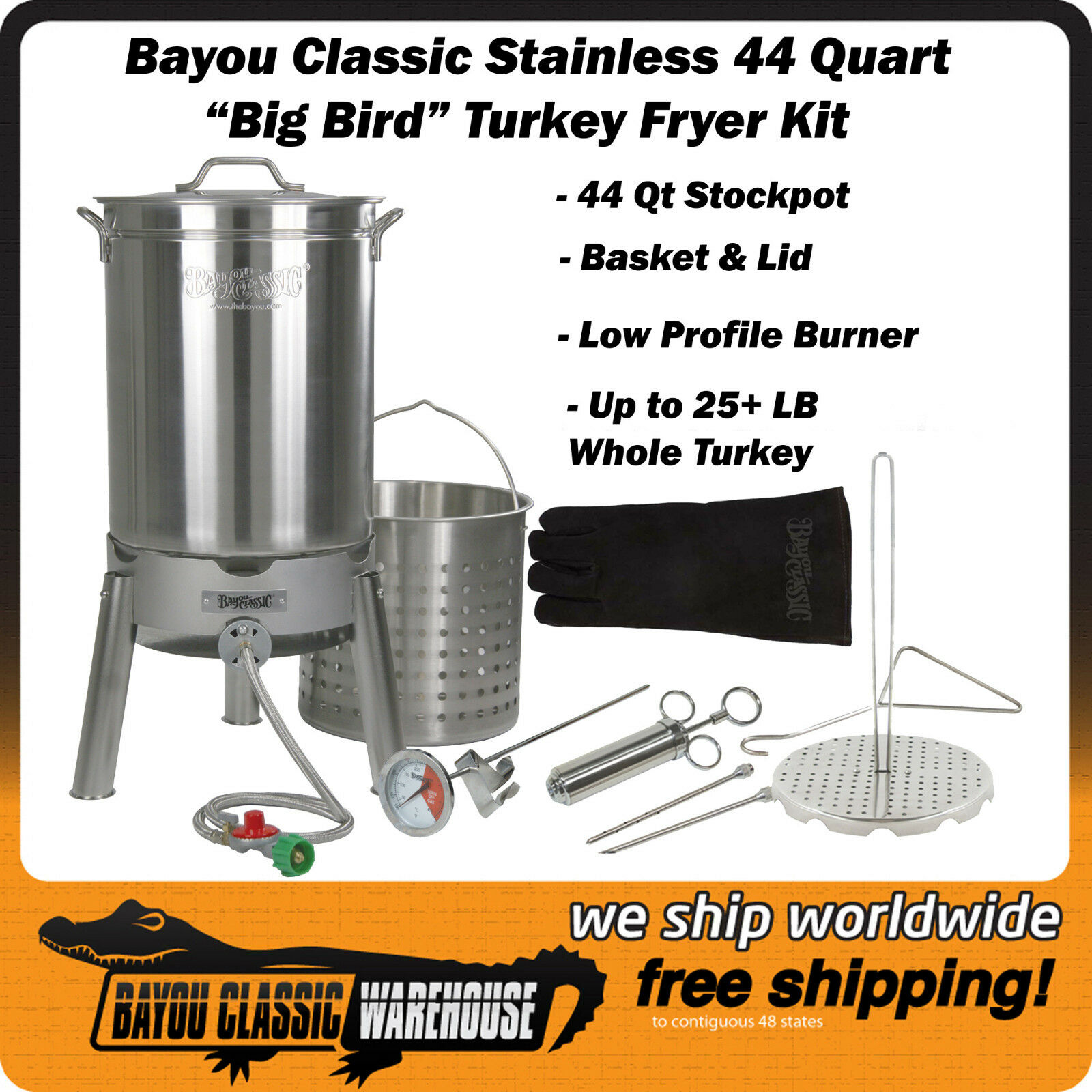 Big Bird Oversized 44 Quart Stainless Deep Fryer Turkey Kit By Bayou Classic