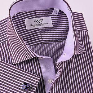 c3d9533a1 Image is loading Mens-Purple-Formal-Business-Dress-Shirt-Herringbone-Twill-