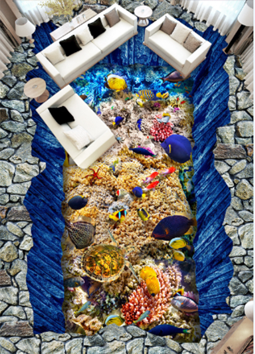 3D Ocean fish Blau 525 Floor WallPaper Murals Wall Print Decal 5D AJ WALLPAPER
