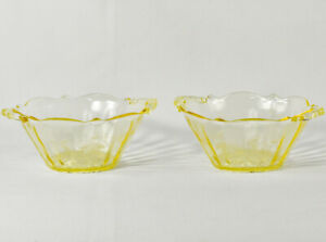 Pair-of-LANCASTER-DEPRESSION-Etched-Yellow-Glass-Bowls-Cane-Bottom-w-Handles