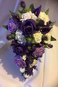 Scottish Wedding Flowers Brides Bouquet Thistles Purple White