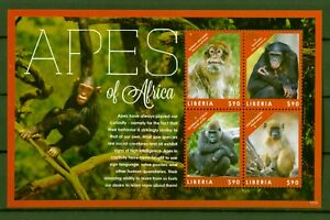 Liberia 2012-singes Monkeys-primates Chimpanzé Gorille Babouin-nº 6131-34 CéLèBre Pour Des MatéRiaux SéLectionnéS, Des Conceptions Originales, Des Couleurs DéLicieuses Et Une Finition RaffinéE