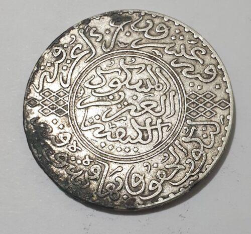 Morocco 1 RIAL ABDULAZIZ 1321H 10 Dirhams Colonial Silver Coin 24.88g RARE XF
