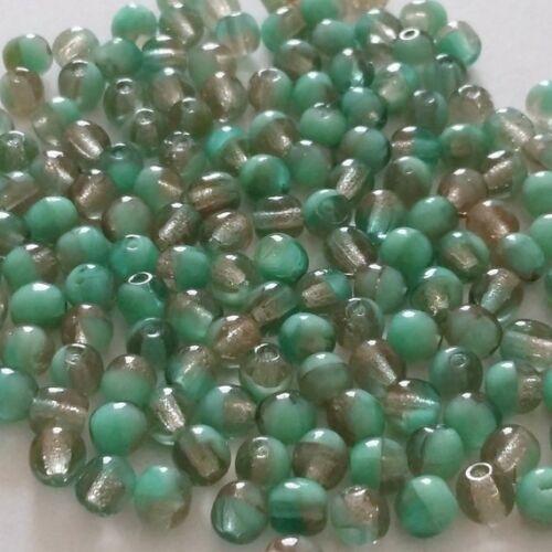 60pcs Gris /& Vert TCHÈQUE VERRE perles rondes 4 mm Bijoux Fournitures GB358