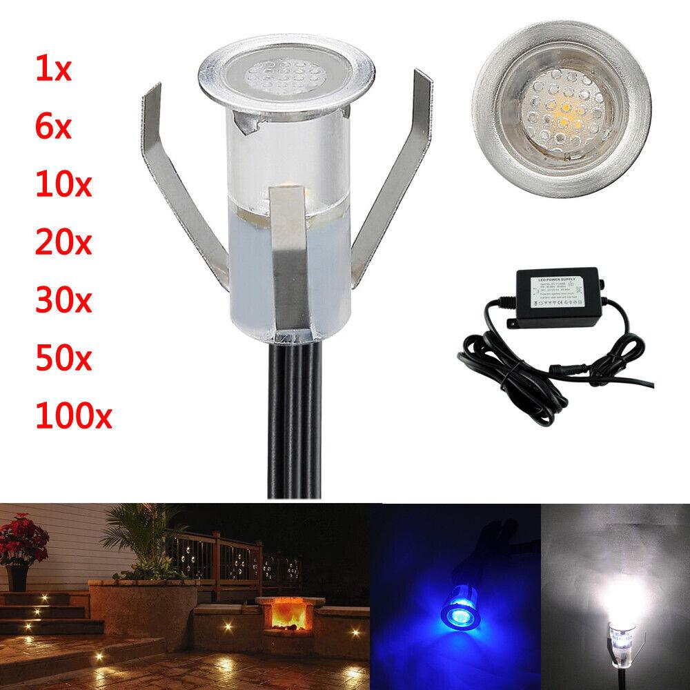 1-50er Set 0,4W Boden Einbaustrahler LED Leuchte Außenlampe Minispot Wasserdicht