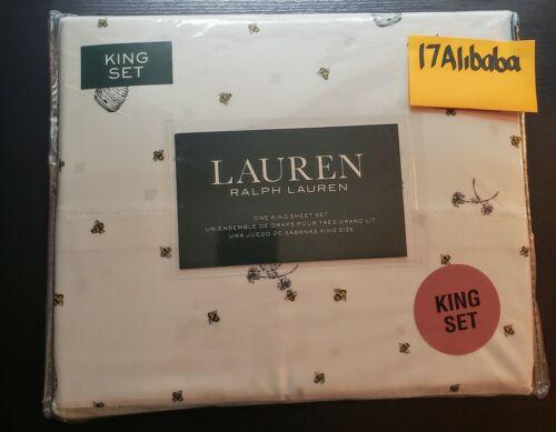 Ralph Lauren BEE HIVE King Sheet Set White Black Yellow NEW NIP Bumblebee