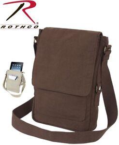 99d2146b6c Details about Army Brown Vintage Canvas Tech Tablet Accessories Travel  Pouch Shoulder Bag 5795