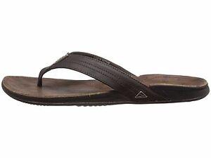 51ab30eef319 Reef J Bay III Dark Brown Men s Leather Flip Flop Sandals RF002616 ...
